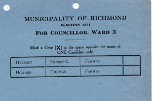 Election Ballot - 1931 - Councillor Ward 3