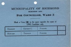 Election Ballot - 1931 - Councillor Ward 3