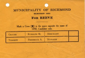 Election Ballot - 1931 - Reeve