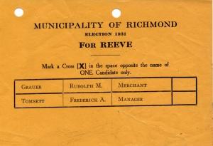 Election Ballot - 1931 - Reeve