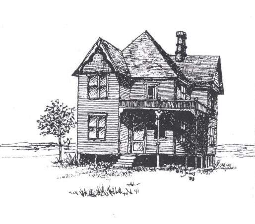 House drawing by Greg Jones, City of Richmond Archives 7431