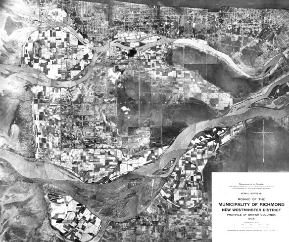 Aerial view of Richmond (population 8,000) in the 1930s, before the establishment of zoning bylaws. City of Richmond Archives Photograph 1985 154 1