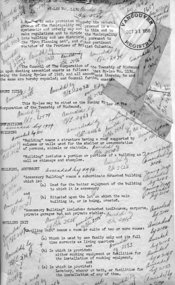 First page of Zoning Bylaw 1430 (1956), with amendment bylaw number annotations in pencil. City of Richmond  Archives Bylaws