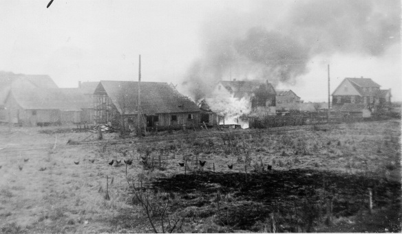 The burning of cannery-owned houses at Acme Cannery. City of Richmond Archives Photograph 2000 15 2