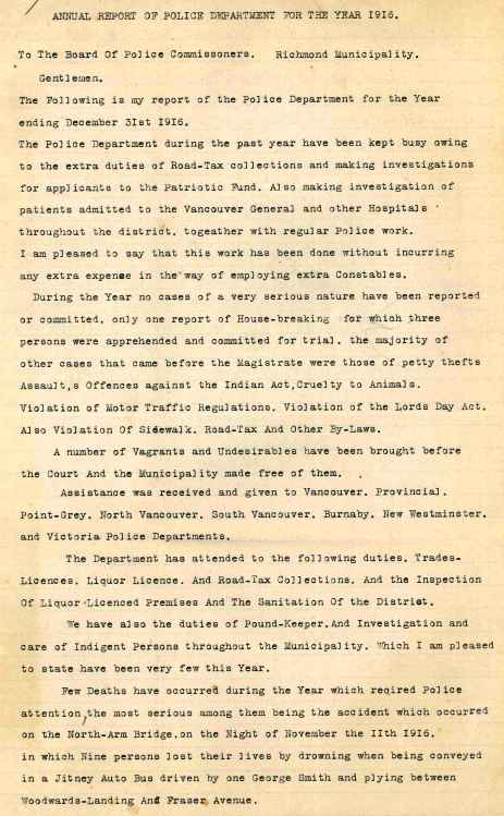 Annual Report to the Board of Police Commissioners, 1916. City of Richmond Archives MR 404, File BPC 1-1