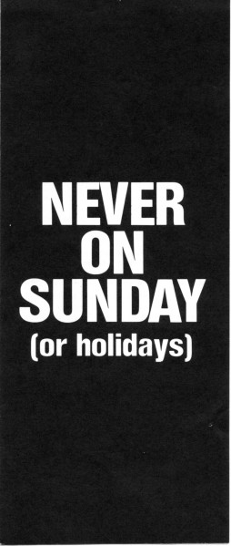 Never on Sunday front page