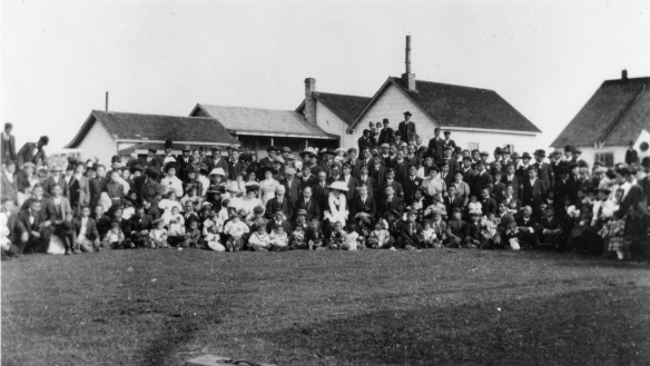 Cannery workers and their families at Vancouver Cannery, Sea Island, on the occasion of the visit by the Japanese Consul, 1912