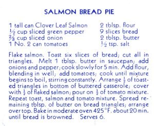 "Recipe for Salmon Bread Pie in ""Sea Food Recipes"", City of Richmond Archives RL 258"