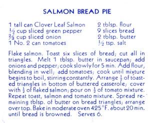"Recipe for Salmon Bread Pie in ""Sea Food Recipes"", City of Richmond Archives RL 258"
