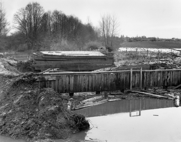 Flood box at Woodward's Slough, 1952. City of Richmond Archives Photograph 1977 1 8