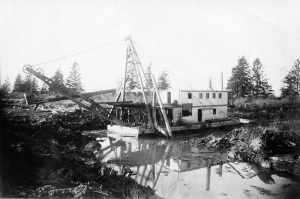 "Dyking and the Dredge ""Beaver No. 2"" in Steveston area, ca. 1905. City of Richmond Archives Photograph 1978 14 4"