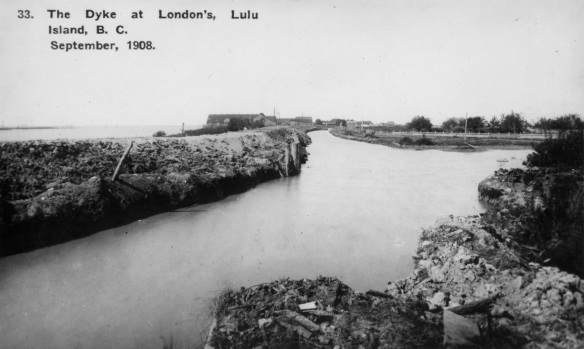 The Dyke at London's, Lulu Island, 1908. City of Richmond Archives Photograph 1978 5 6