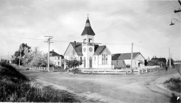 Richmond United Church at the corner of River Road and Cambie, ca. 1930. City of Richmond Archives Photograph 1985 39 104