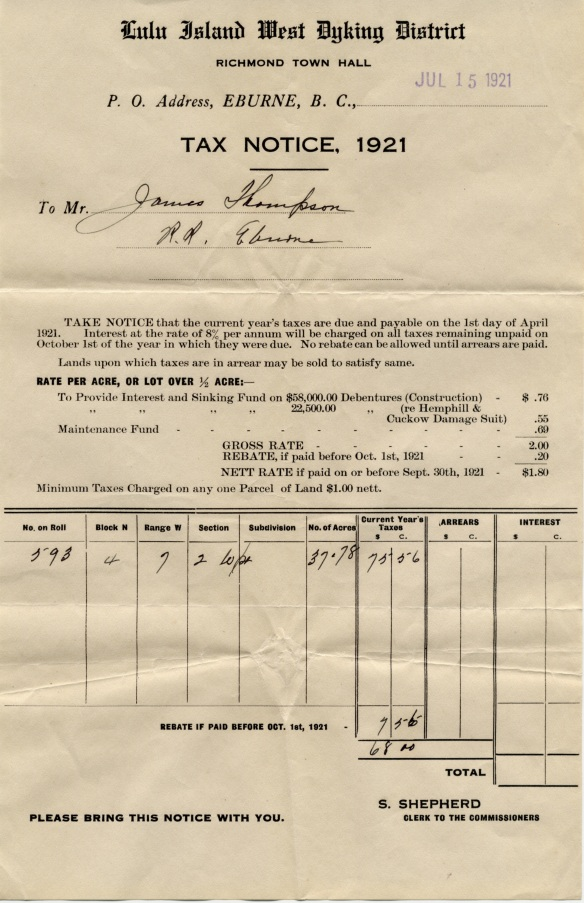 Tax notice for Lulu Island West Dyking District, 1921. City of Richmond Archives, Thompson family fonds