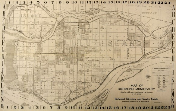 Street map of Richmond, 1937, showing changes to numbered east/west roads, along iwth old names in parentheses. City of Richmond Archives Map 1989 11 1