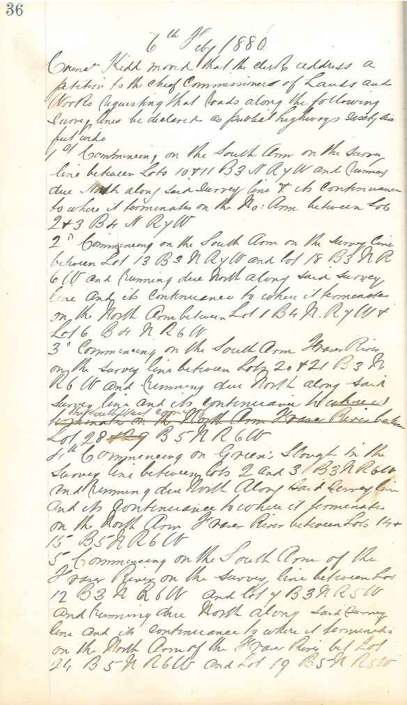 Excerpt from Council minutes of May 6, 1880, showing first page of motion to petition to declare public highways for No. 1 Road through No. 13 Road. City of Richmond Archives, MR 1, File 1-1