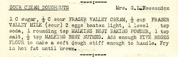 "Recipe for Sour Cream Doughnuts on page 13 of ""Tested Recipes."""