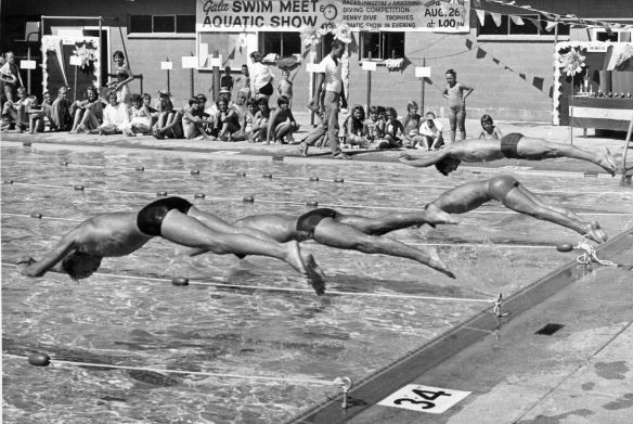 Swim meet at Centennial Pool, 1963. City of Richmond Archives Photograph 1985 77 26