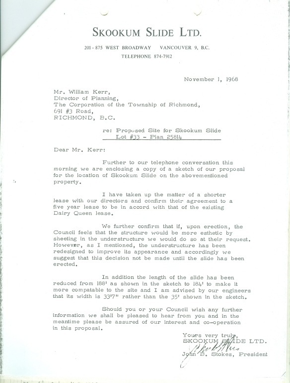 A letter from Skookum Slide President John B. Stokes. City of Richmond Archives MR SE 92 SS7, file 43.