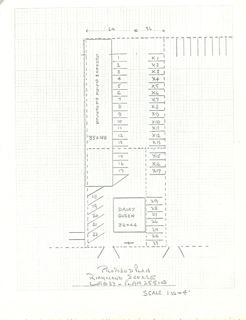 A plan showing the proposed location for the slide on property sub-leased from the Credit Union and Dairy Queen. City of Richmond Archives accession 5337 43.