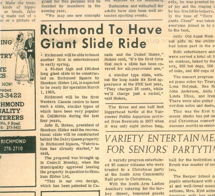 A clipping from the Richmond Review, January 8, 1969.
