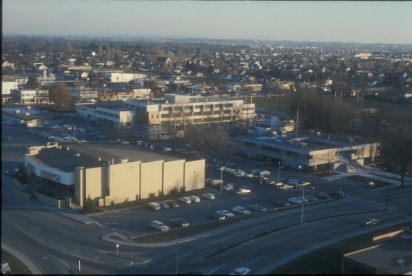 Richmond Twin Theatres, Municipal Hall and beyond looking southeast, ca. 1974. City of Richmond Archives Photograph 1988 123 654