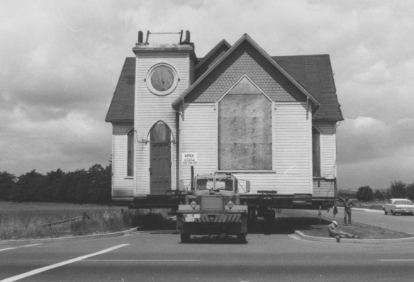 The old Richmond United/Methodist Church building being moved to Minoru Park, 1967. City of Richmond Archives Photograph 1989 33 1