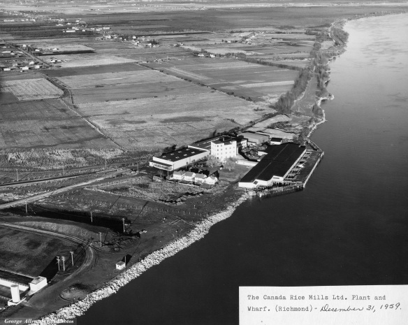 Canada Rice Mills plant and wharf, 1959. City of Richmond Archives Photograph 2010 87 27