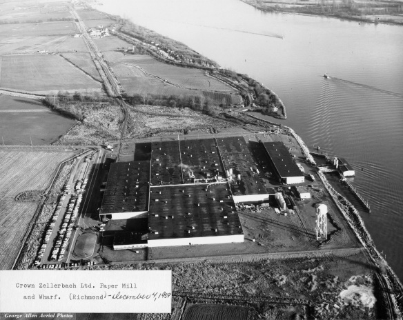 Crown Zellerbach paper mill and wharf, 1959. City of Richmond Archives Photograph 2010 87 28
