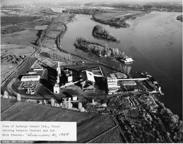 La Farge Cement plant, showing Don and Lion Island, 1959. City of Richmond Archives Photograph 2010 87 31
