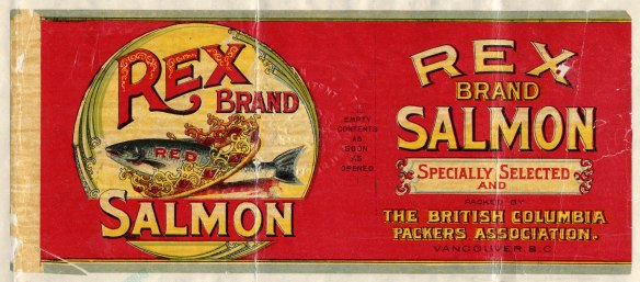 Rex Brand Salmon's trademark showed a salmon leaping through a crown.