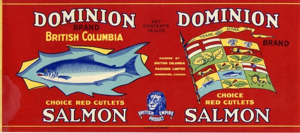 Dominion Brand Salmon labels bore the image of the British Lion with