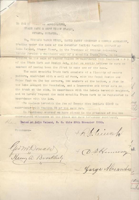 The trademark registration document for Flagship Brand Salmon, 1893.