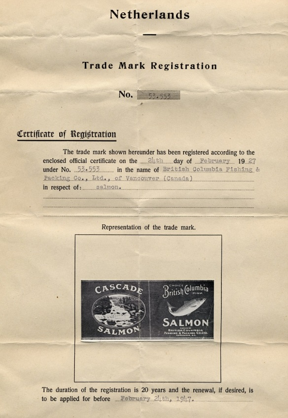 A Dutch Trademark Registration Certificate for Cascade Brand Salmon, 1947