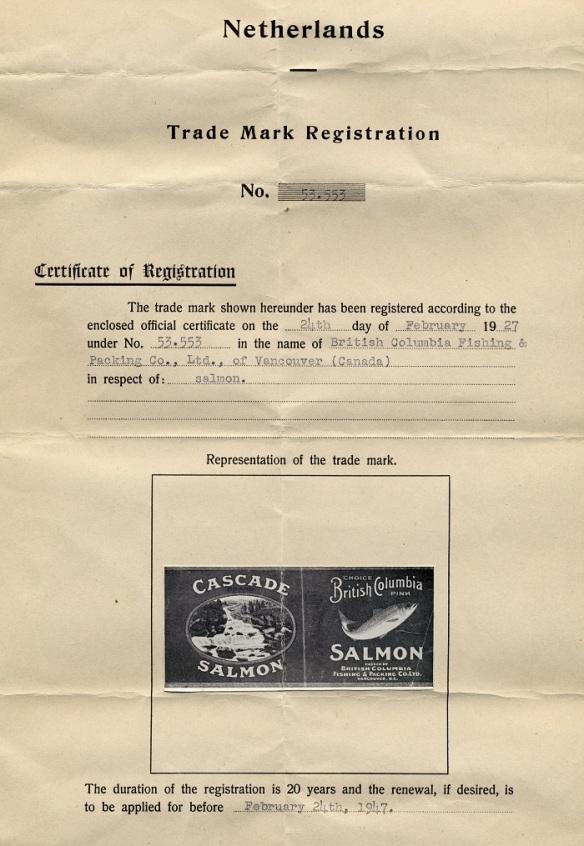 A Dutch Trademark Registration Certificate for Cascade Brand Salmon, 1947