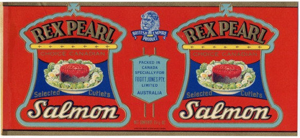 An Australian label for Rex Pearl Choice Canadian Salmon.