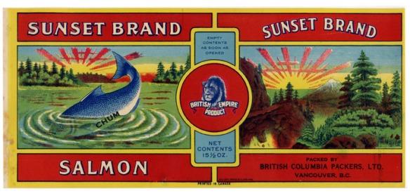 Sunset Brand Chum Salmon, with beautiful scenery.