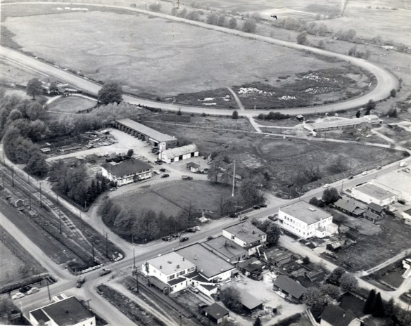 This 1951 aerial view over the intersection of Granville Avenue and No.3 Road shows Brighouse (Minoru) Racetrack while under the ownership of the BC Turf and Country Club. Richmond Municipal Hall is on the corner in the same location as City Hall Today. (City of Richmond Archives photograph 1984 17 5)